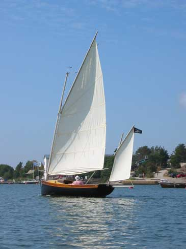 Gaff rigged Romilly in light airs